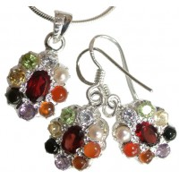 Navaratna Set Silver - Pendant and Earrings - Oval