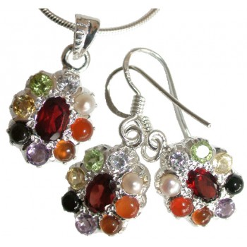 Navaratna Set Silver - Pendant and Earrings - Oval