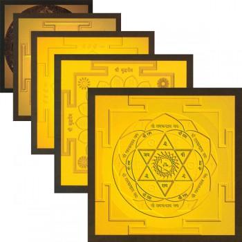 """Spiritual-Yantra-Gold Set (13 Yantras) 4,6"""" x 4,6"""""""